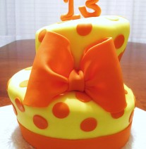 Two Tier Topsy Turvy Birthday Cake Orange and Yellow