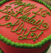 Pink &amp; Green Birthday Cake