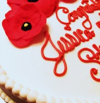 Red Poppy Bridal Shower Cake