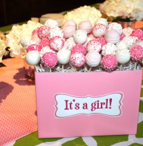 Pink Baby Shower Girl Cake Pops