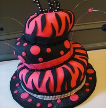Hot Pink and Black Zebra Topsy Turvy Birthday Cake Nashville
