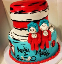 Dr Suess Thing 1 and Thing 2 Birthday Cake