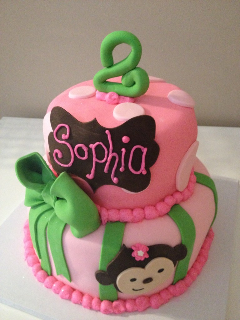 Pink and Green Monkey Birthday Cake