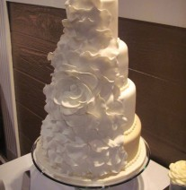 White and Cream Petal Wedding Cake