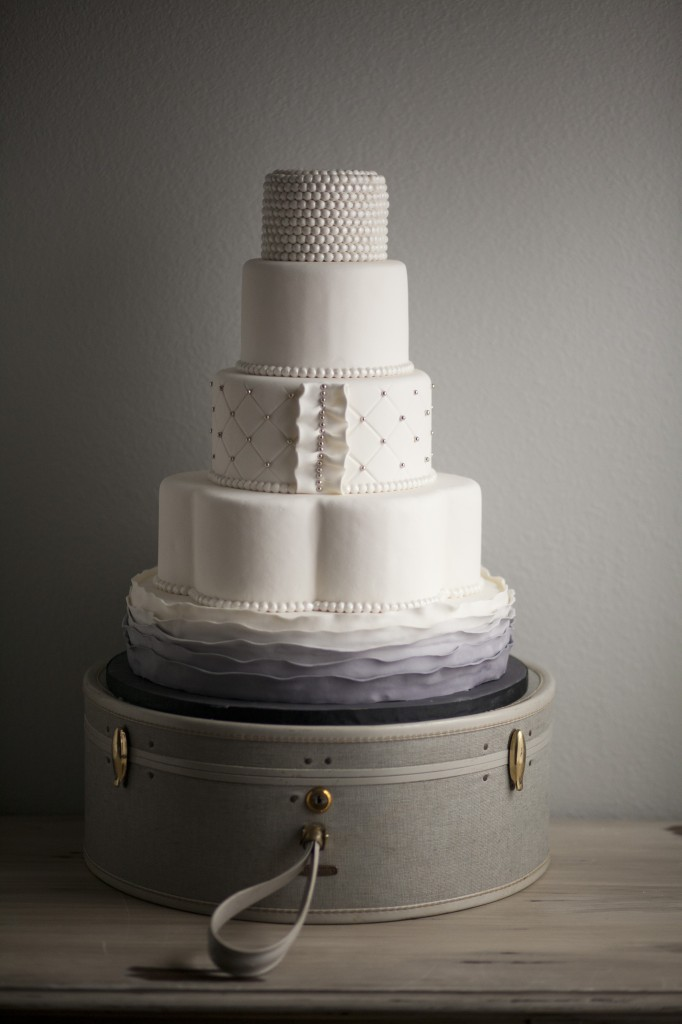 Pearl White and Gray Ombre Wedding Cake