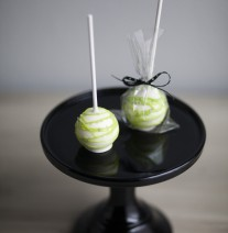 Lime Green and White Cake Pops