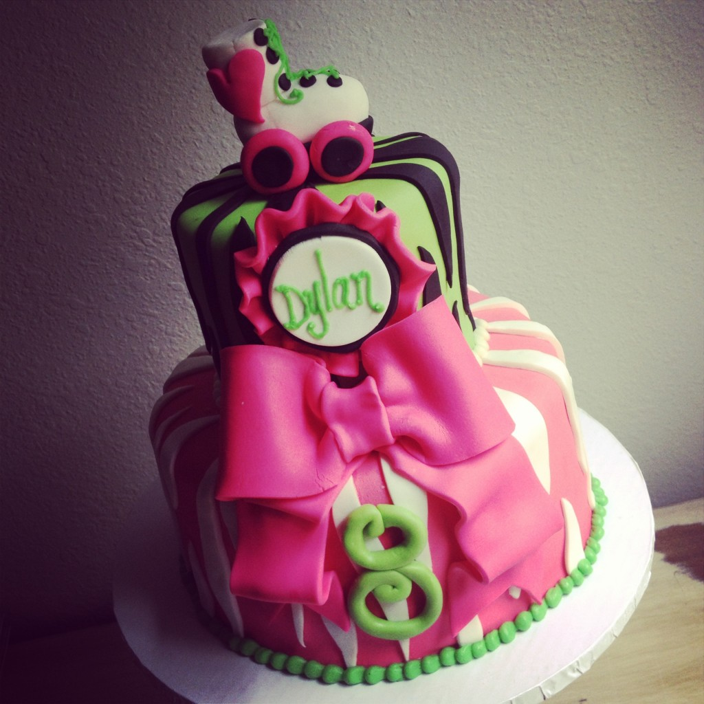 Pink and Green Roller Skate Cake