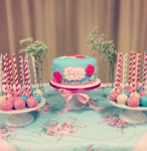 Shabby Chic Baby Shower Cake and Cake Pops