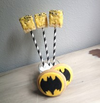 Chocolate Covered Rice Krispie Pops and Batman Sugar Cookies