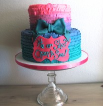 Pink & Teal Gender Reveal Cake