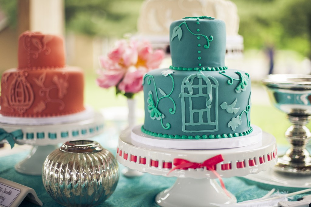 Coral and Teal Bird Cage Wedding Cakes