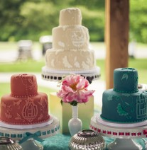 Coral, Ivory and Teal Bird Cage Wedding Cakes