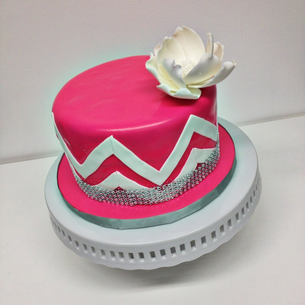 Hot Pink and White Chevron Cake