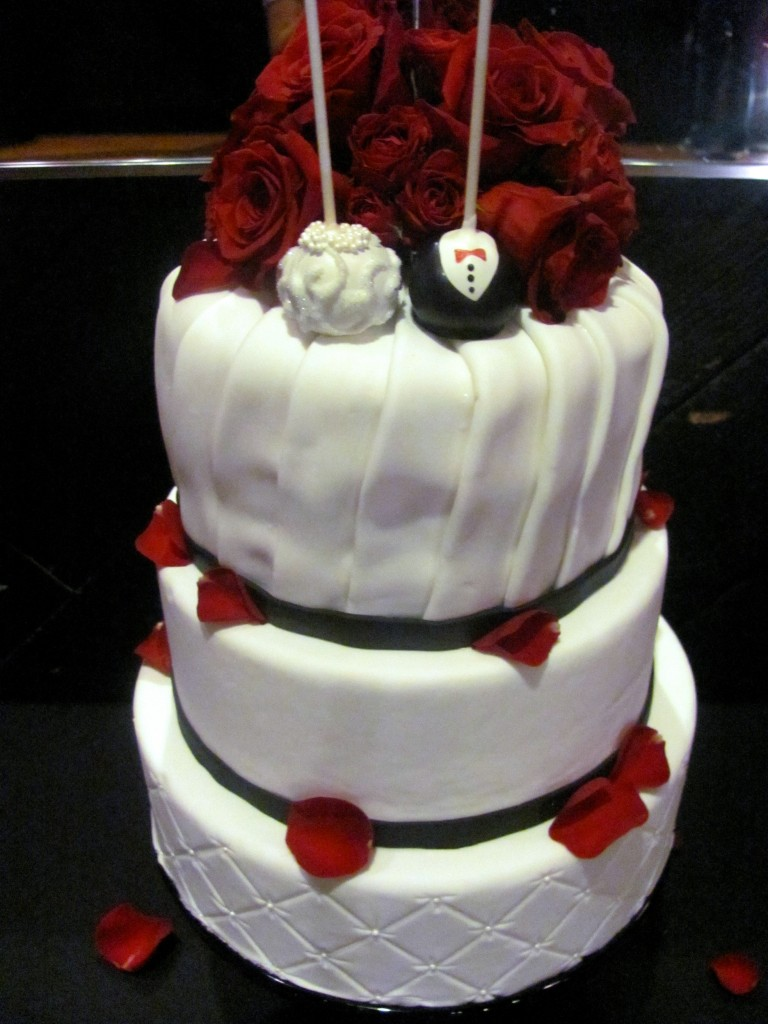 Red, white and black wedding cake