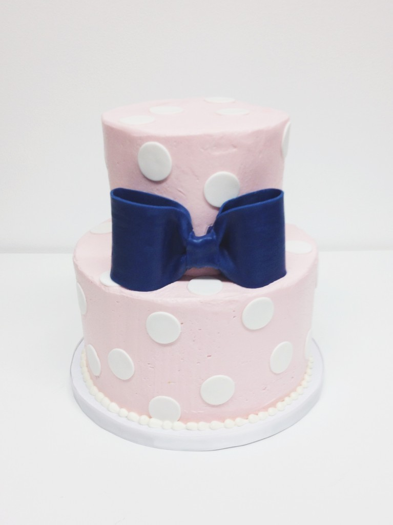 Pink and Navy Polka Dots Cake