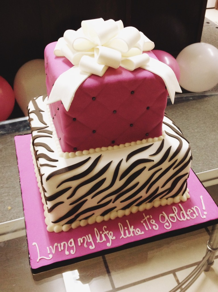 Fuchsia and Zebra Birthday Cake