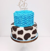 Giraffe Print and Blue Ruffled Baby Shower Cake