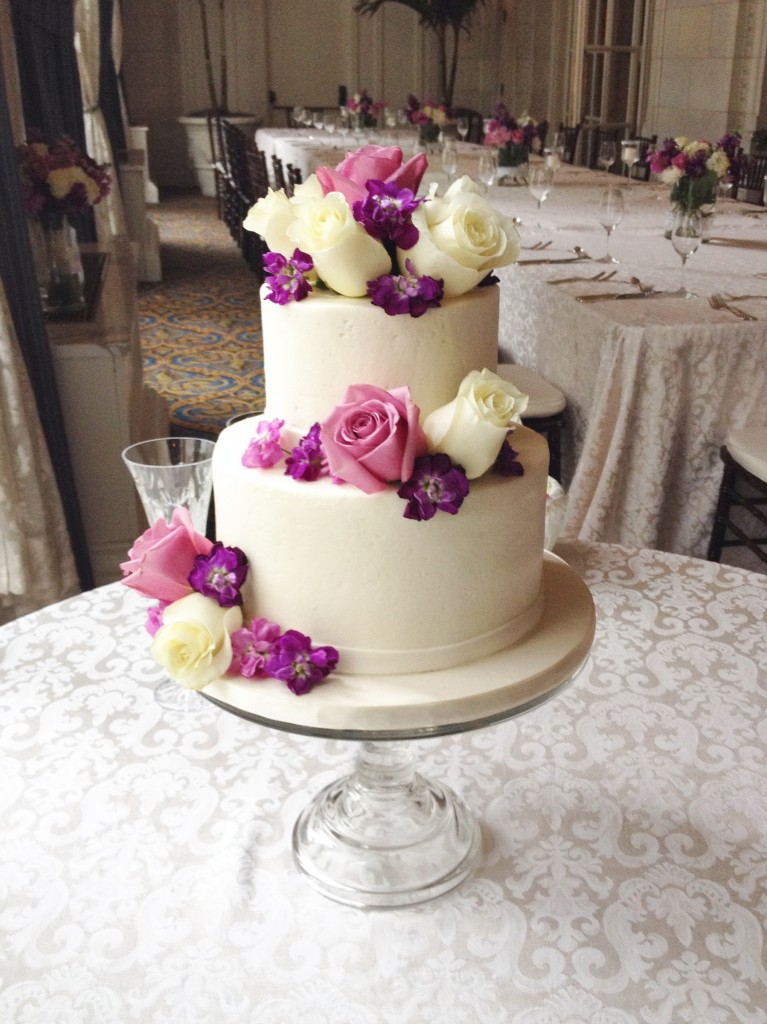Buttercream Wedding Cake with Flowers