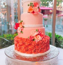 Peach and Pinks Wedding Cake