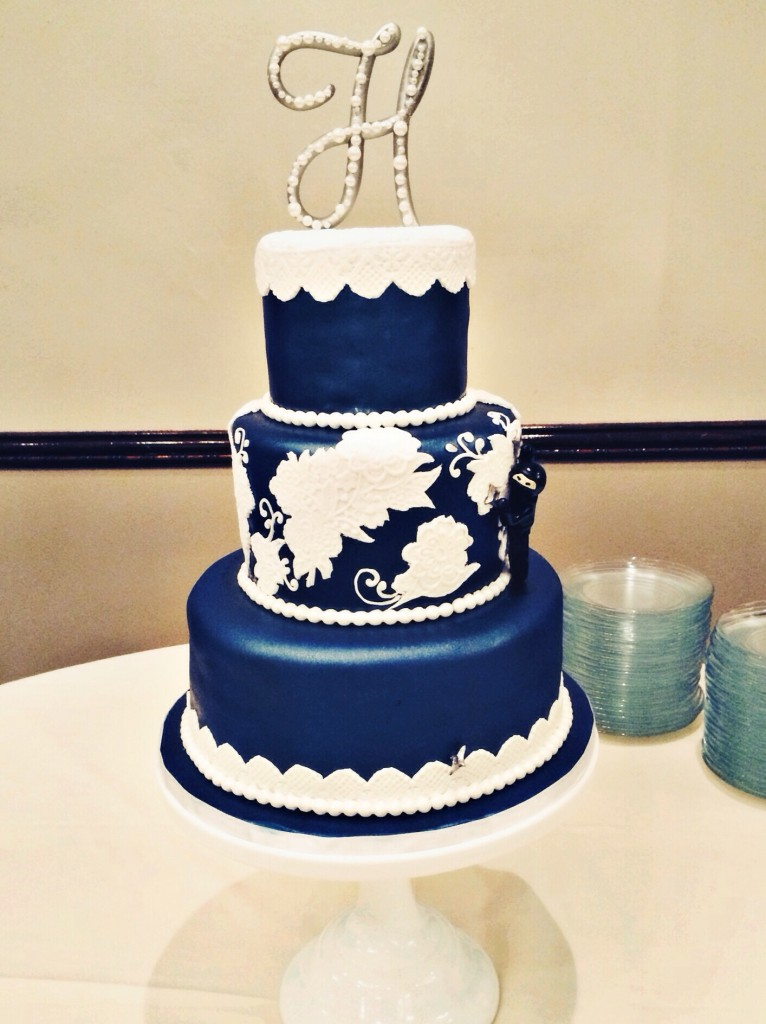 Navy and White Lace Wedding Cake