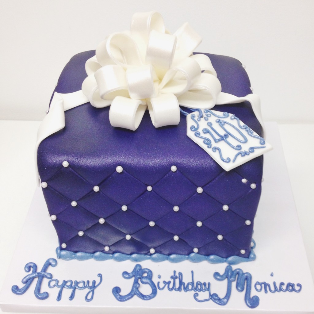Purple and White Present Cake