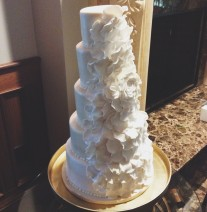 Ivory and White Rose Petal Cake