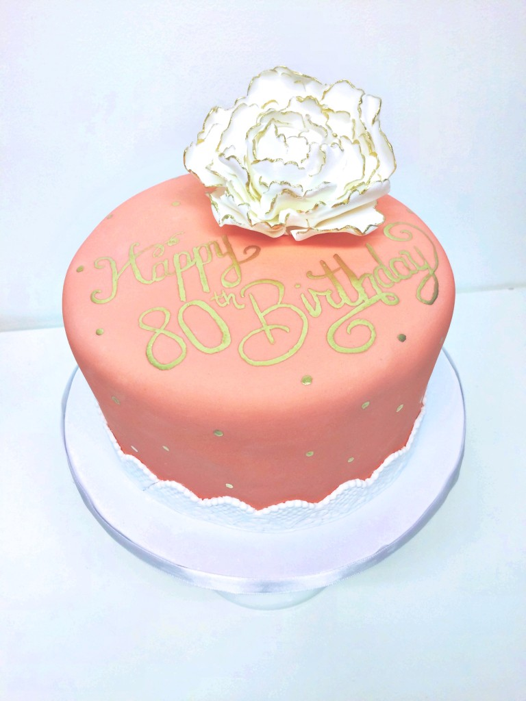 Coral and Gold Birthday Cake
