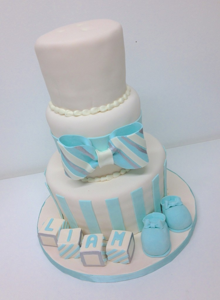Ivory and Blue Baby Shower Cake