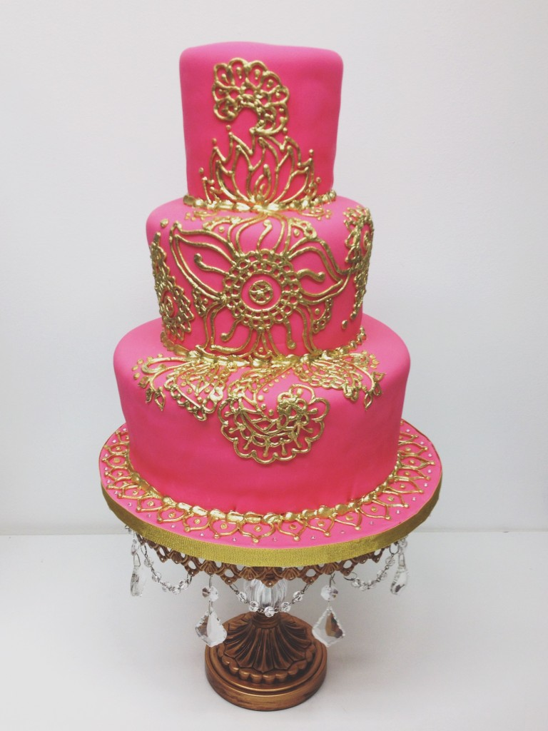 Pink and Gold Henna Cake