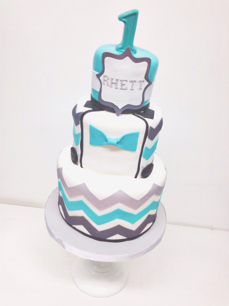 Turquoise and Grey Chevron Cake