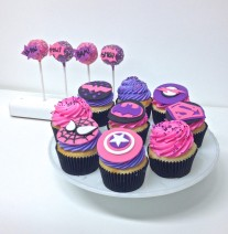 Pink & Purple Superhero Cupcakes and Cake Pops