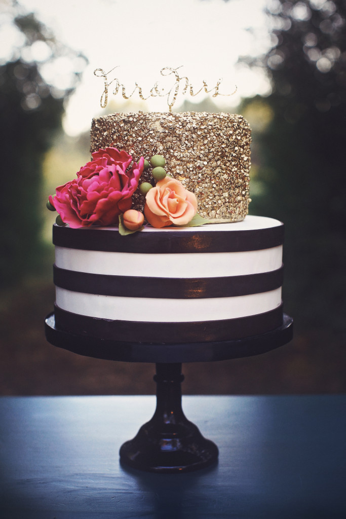Black, White and Gold Sequins Cake