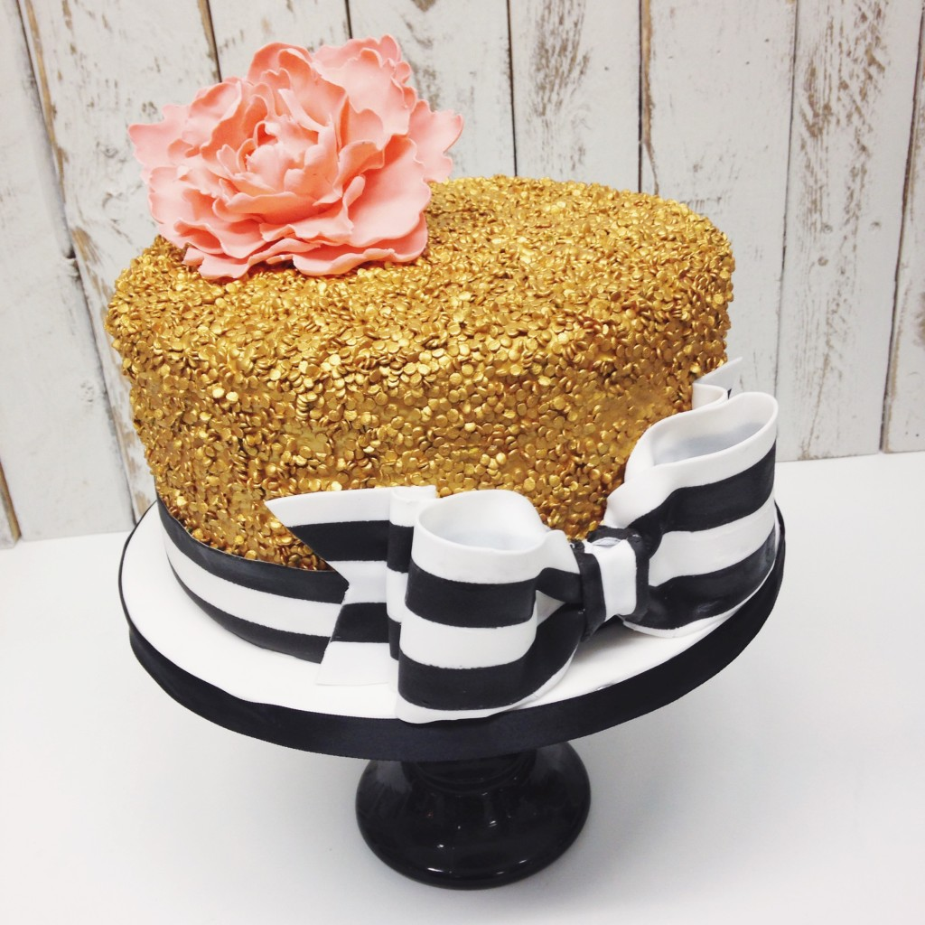 Gold Sequins with Bow Cake