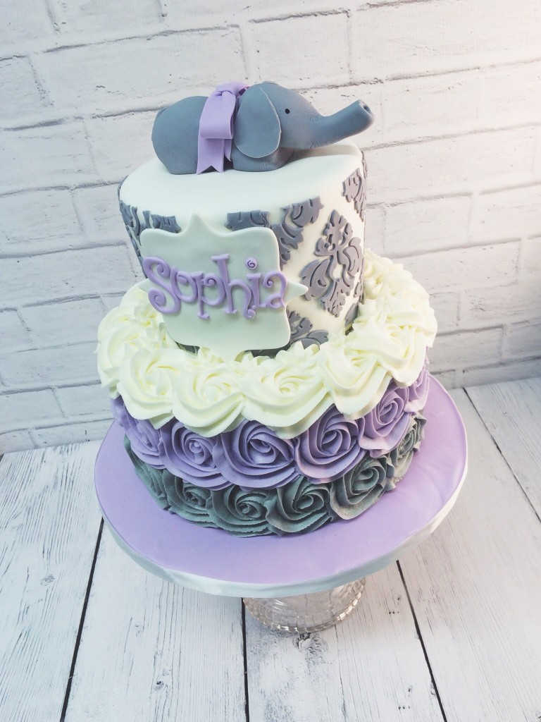 Purple and Grey Elephant Baby Shower Cake