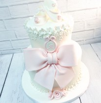White and Baby Pink Shower Cake