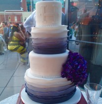 Ombre Purple Ruffles Wedding Cake