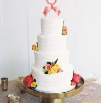 Textured Wedding Cake with Flamingos