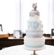 Blue and Grey Wedding Cake