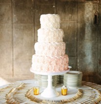 Blush Pink Ombre Rosettes Wedding Cake