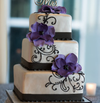 Black, Silver and Purple Wedding Cake
