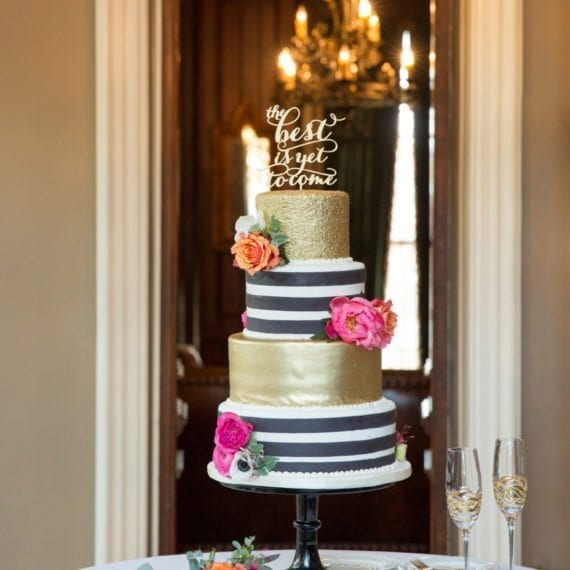 Black & White Stripes with Gold & Bold Flowers Wedding Cake