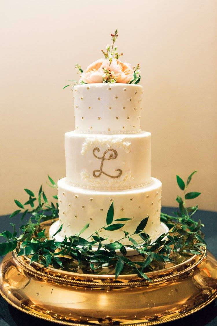 Nashville Sweets | Buttercream Wedding Cake with Gold Swiss Dots ...