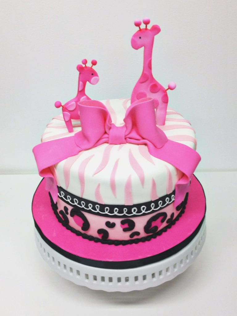 Nashville Sweets Pink Giraffe Baby Shower Cake With Zebra Stripes