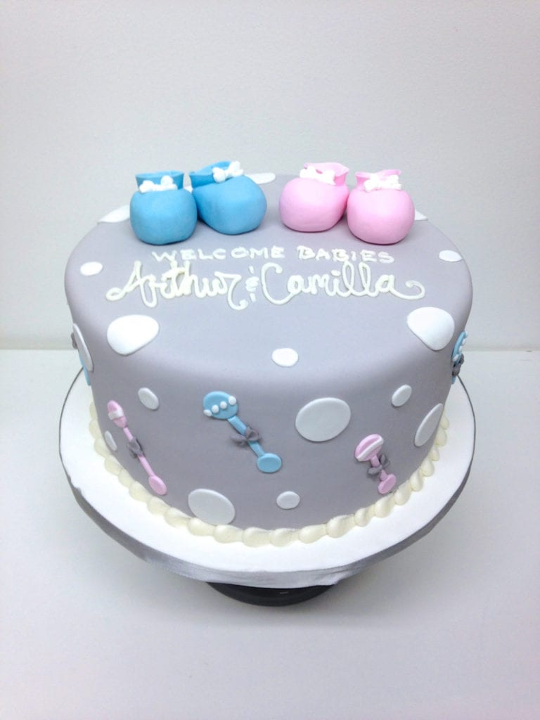 Nashville Sweets Blue Pink Grey Baby Shower Cake