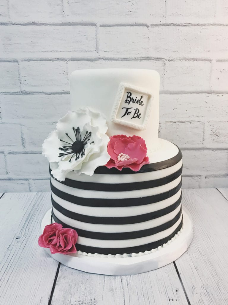 blue white stripes flowers bridal shower cake