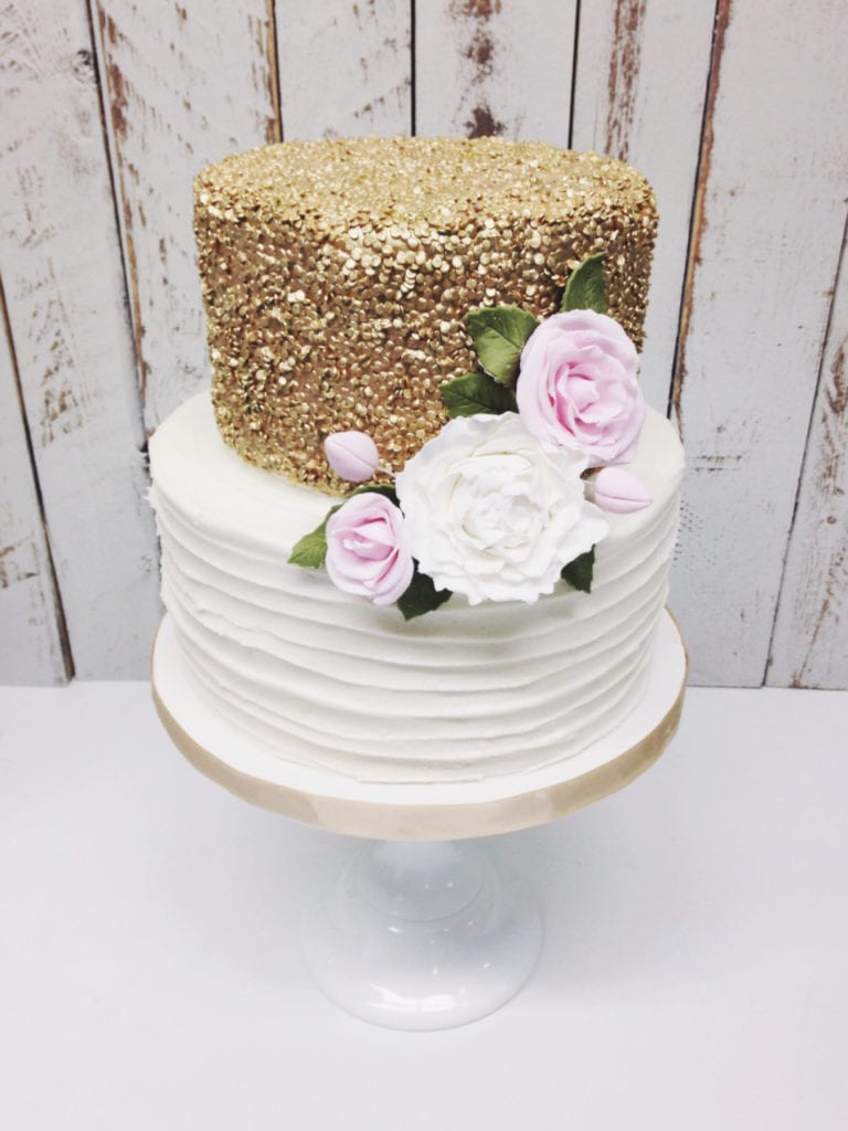 Nashville Sweets Gold Sequins Textured Buttercream Lines
