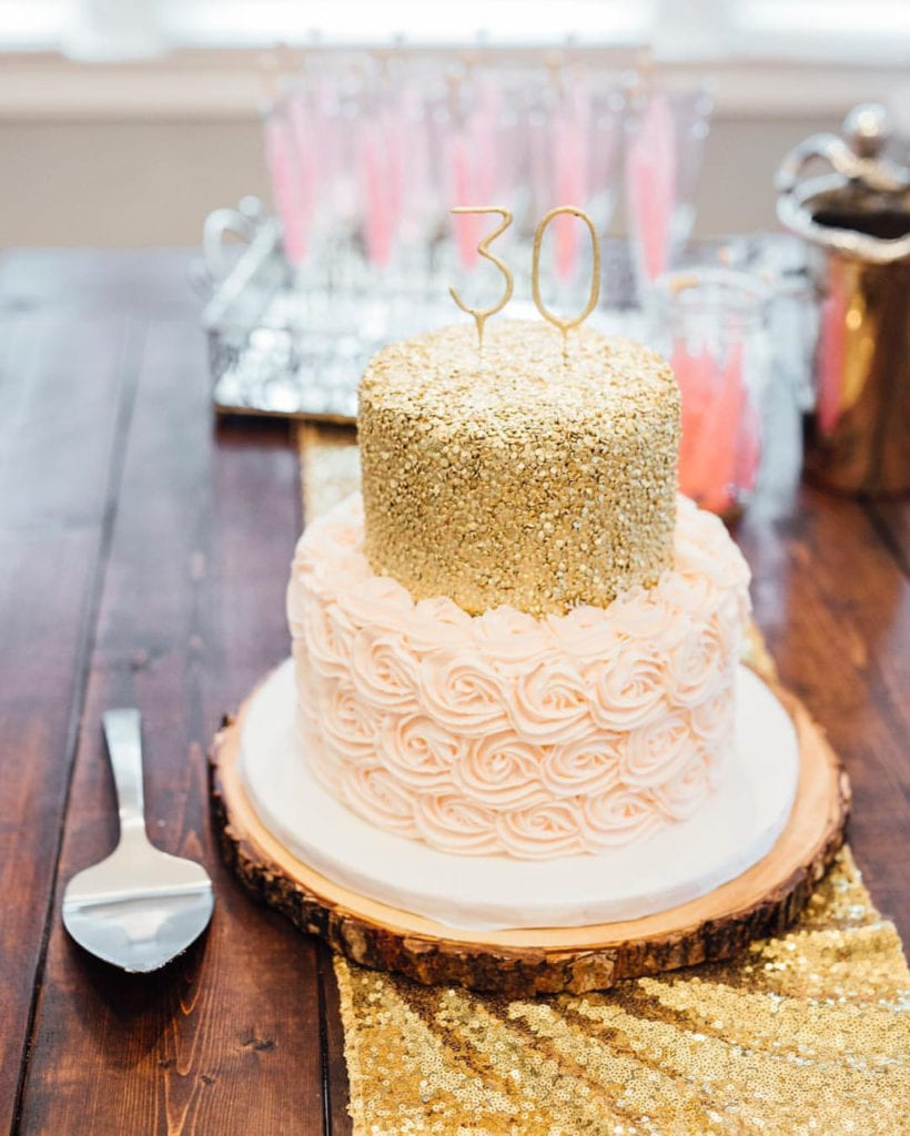Blush Pink Rosettes Gold Sequin Birthday Cake