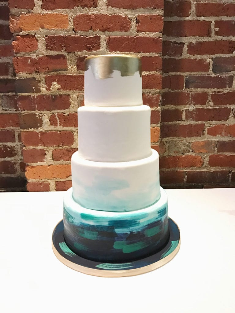 Teal Navy Gold Watercolor Brush Strokes Cake Cakes Weddings