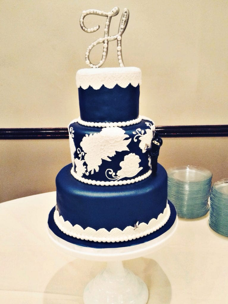 navy and white wedding cake nashville navy wedding cake with white lace amp 17743
