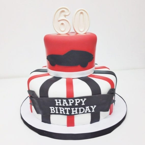 Red Black Car Silhouette Birthday Cake